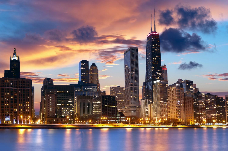 Chicago-Skyline sunset